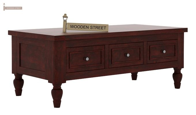 Maisie 6 Drawer Tea Table (Mahogany Finish)-4