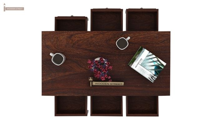 Maisie 6 Drawer Tea Table (Walnut Finish)-3