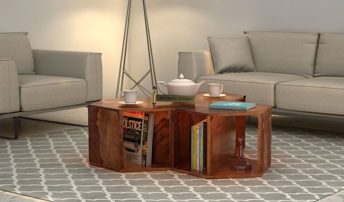 Buy Ruth Centre Table - Set Of 3 (Teak Finish) Online in India ...