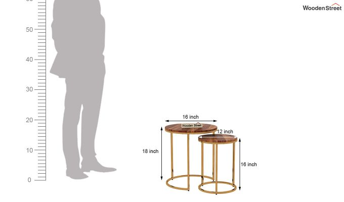 Silo Nest of Tables (Teak Finish)-7