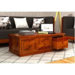 Trine 6 Drawer Tea Table (Honey Finish)