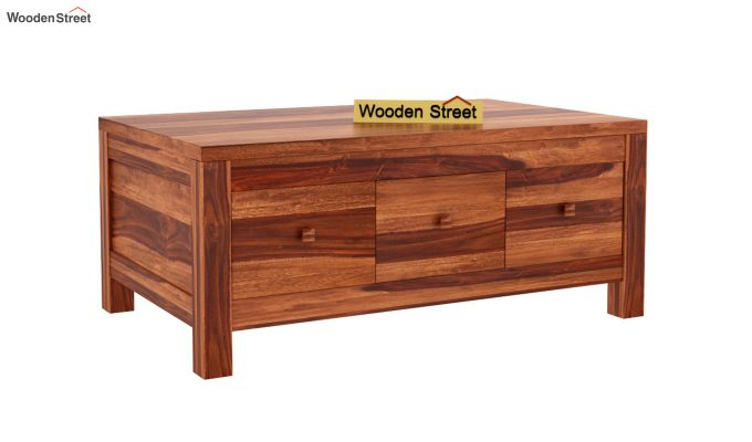 Turner 6 Drawer Coffee Table (Honey Finish)-3
