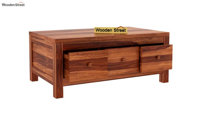 Turner 6 Drawer Coffee Table (Honey Finish)-5