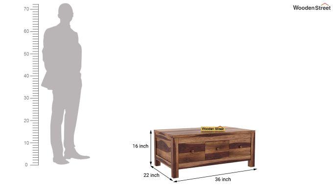 Turner 6 Drawer Coffee Table (Teak Finish)-6