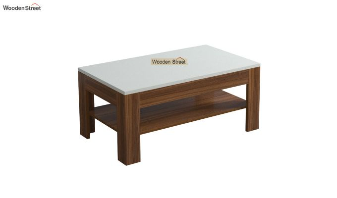 Beach Coffee Table with Frosty White Top (Exotic Teak Finish)-2