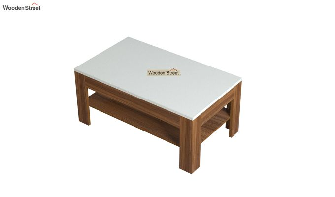 Beach Coffee Table with Frosty White Top (Exotic Teak Finish)-4