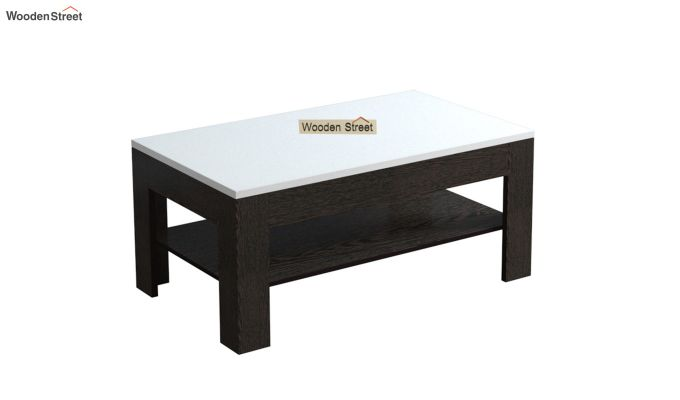 Beach Coffee Table with Frosty White Top (Flowery Wenge Finish)-2