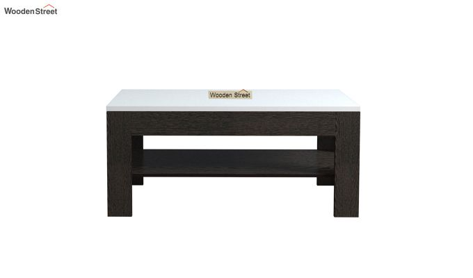 Beach Coffee Table with Frosty White Top (Flowery Wenge Finish)-3