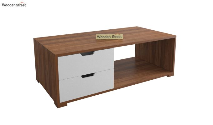 Gwen Coffee Table with Frosty White Drawer (Exotic Teak Finish)-2