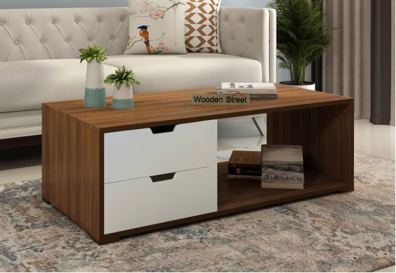 Gwen Coffee Table with Frosty White Drawer (Exotic Teak Finish)