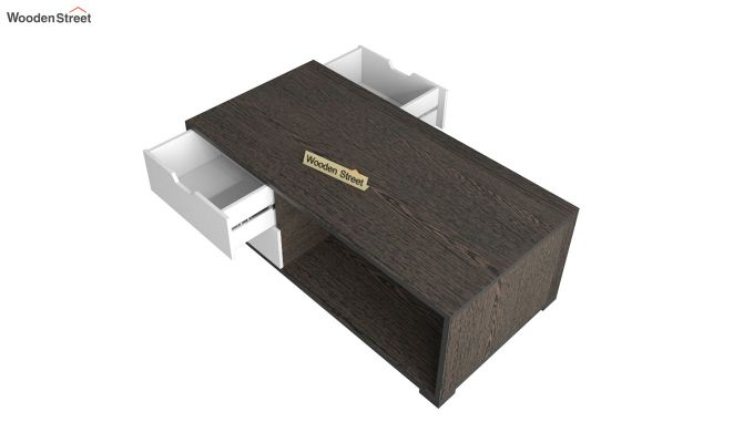 Gwen Coffee Table with Frosty White Drawer (Flowery Wenge Finish)-4
