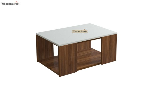 Kingston Coffee Table with Frosty White Top (Exotic Teak Finish)-2