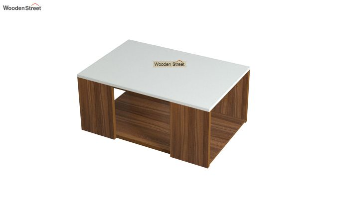 Kingston Coffee Table with Frosty White Top (Exotic Teak Finish)-4