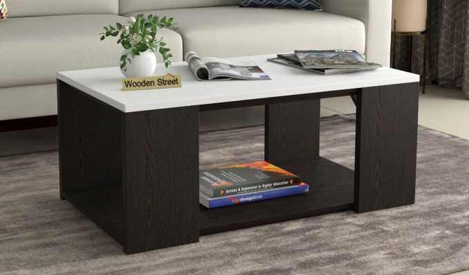 Kingston Coffee Table with Frosty White Top (Flowery Wenge Finish)-1