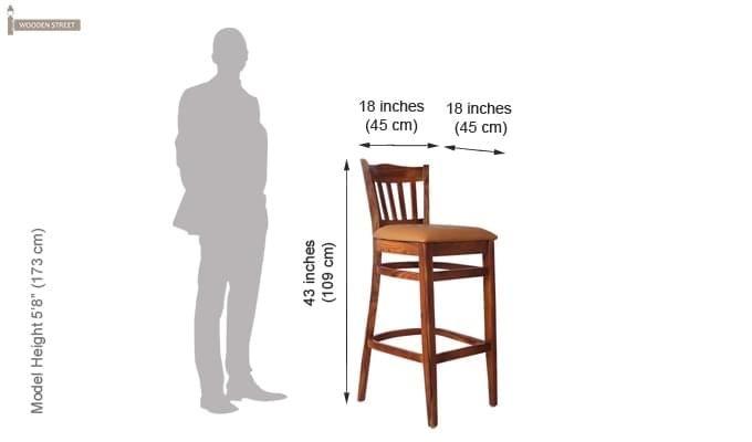 Zarra Bar Chair (Teak Finish)-7