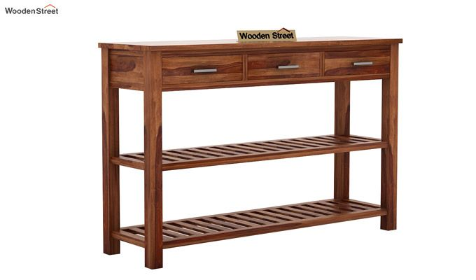 Abacus Console Table (Teak Finish)-4