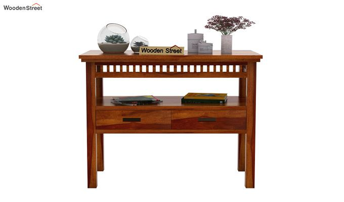 Adolph Console Table With Storage (Honey Finish)-3
