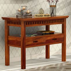 Adolph Console Table With Storage (Honey Finish)