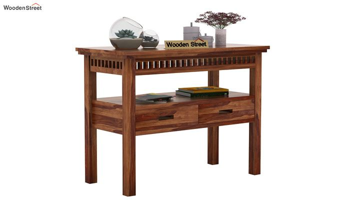 Adolph Console Table With Storage (Teak Finish)-1