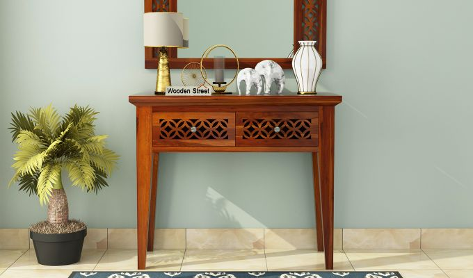 Cambey Console Table (Honey Finish)-2