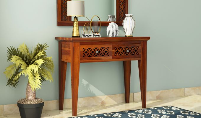 Cambey Console Table (Honey Finish)-1