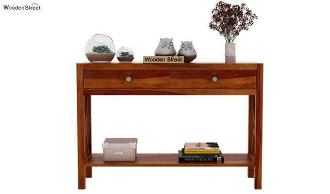 Carnation Console Table (Honey Finish)-2