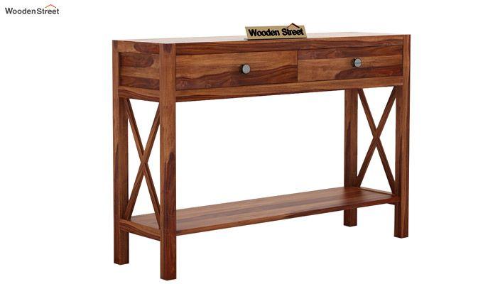 Carnation Console Table (Teak Finish)-4