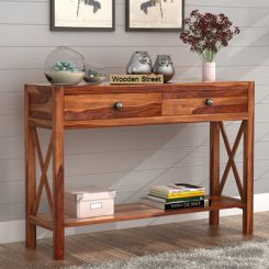 Carnation Console Table (Teak Finish)