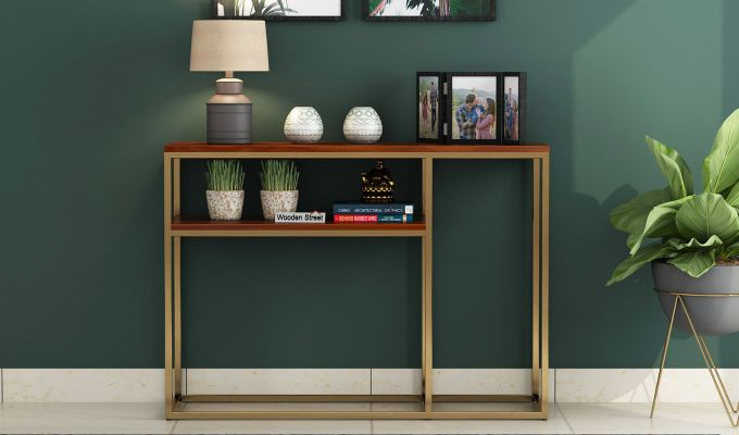 Carol Console Table (Honey Finish)-2