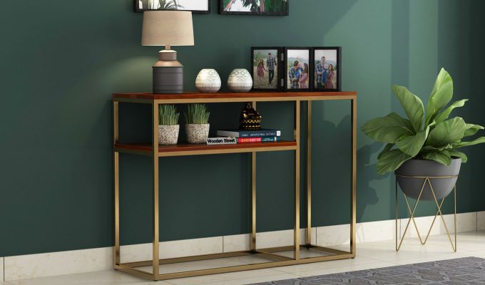 Carol Console Table (Honey Finish)-1