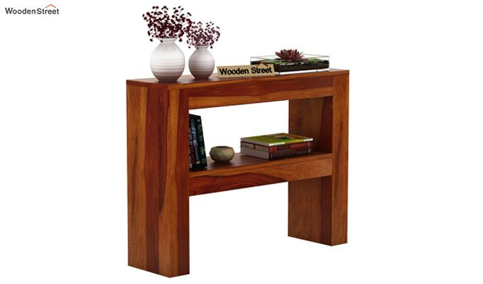 Castor Console Table (Honey Finish)-1