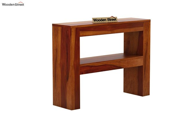 Castor Console Table (Honey Finish)-3