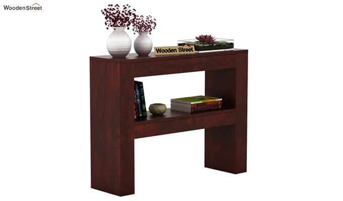 Castor Console Table (Mahogany Finish)-1