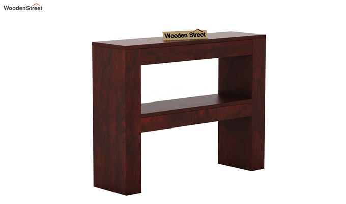 Castor Console Table (Mahogany Finish)-3
