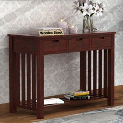 Douglas Console Table With Storage (Mahogany Finish)