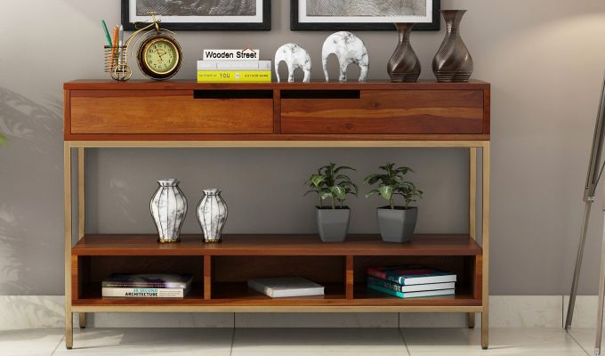 Freesia Console Table (Honey Finish)-2