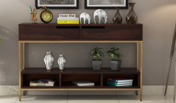 Freesia Console Table (Walnut Finish)-2