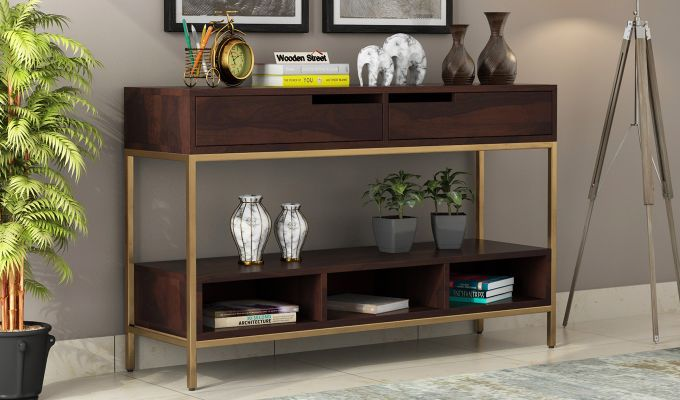Freesia Console Table (Walnut Finish)-1