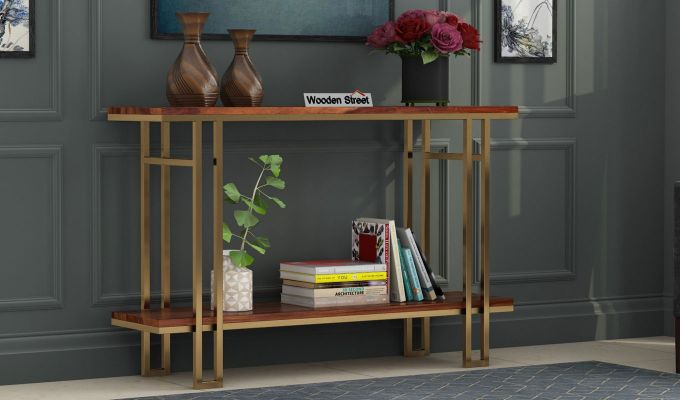 Gate Console Table (Teak Finish)-1