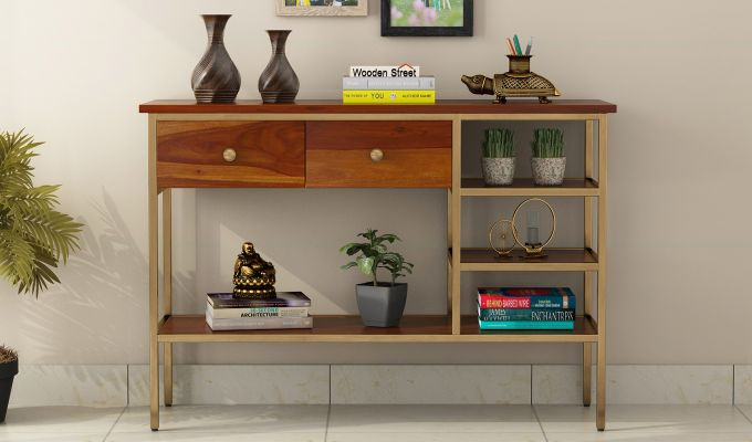 Grapho Console Table (Honey Finish)-3