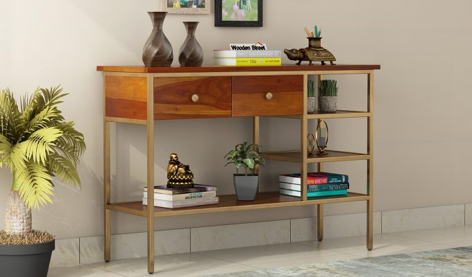 Grapho Console Table (Honey Finish)-1