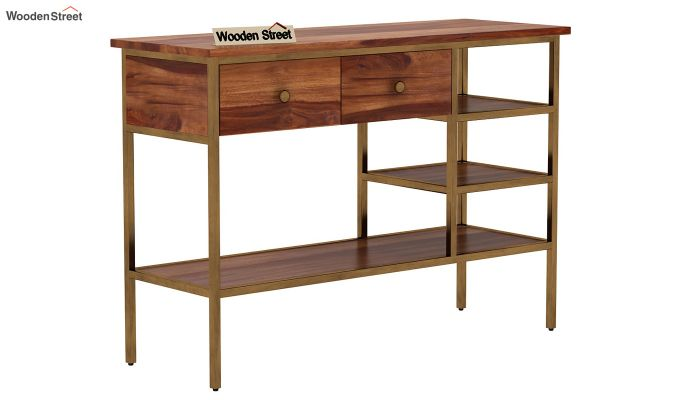 Grapho Console Table (Teak Finish)-3