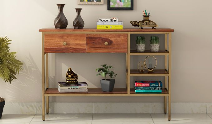 Grapho Console Table (Teak Finish)-2
