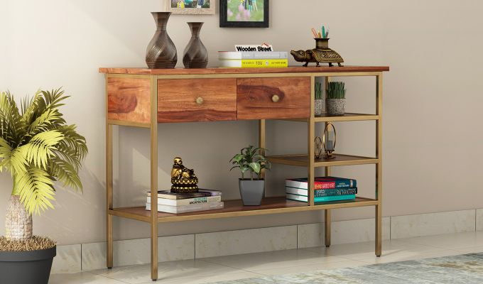 Grapho Console Table (Teak Finish)-1