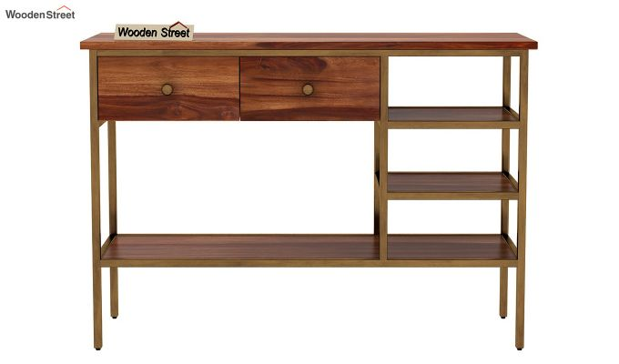 Grapho Console Table (Teak Finish)-4