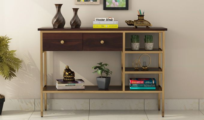 Grapho Console Table (Walnut Finish)-2