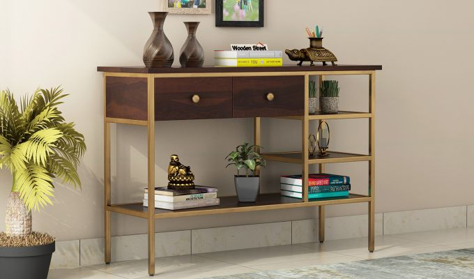 Grapho Console Table (Walnut Finish)-1