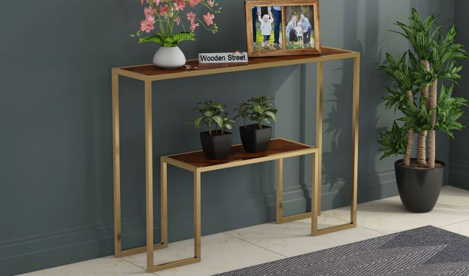 Ladon Console Table (Honey Finish)-1