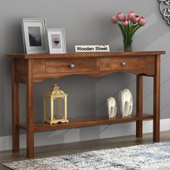 Loriat Console Table (Teak Finish)