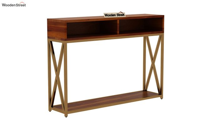 Sapphire Cross Console Table (Honey Finish)-3